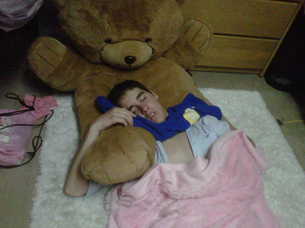 Sleeping with a giant teddy and a pink blankey. TFM.