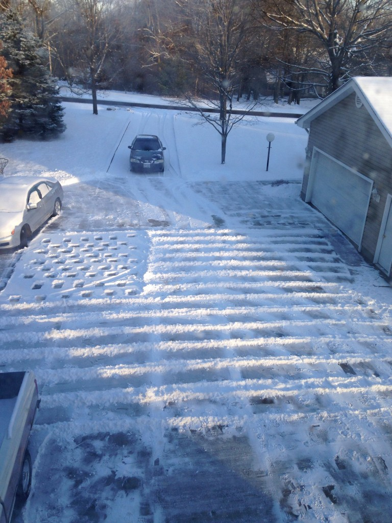 Shoveling the driveway like an American. TFM.