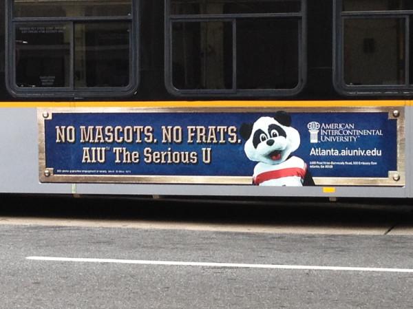 NO MASCOTS. NO FRATS. PANDA DOE.