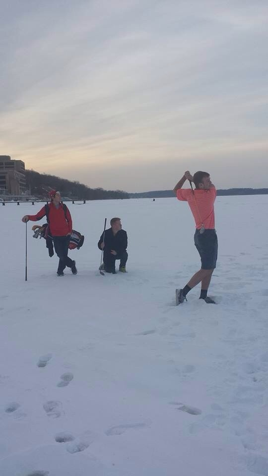 Turning a frozen lake into a driving range. TFM.