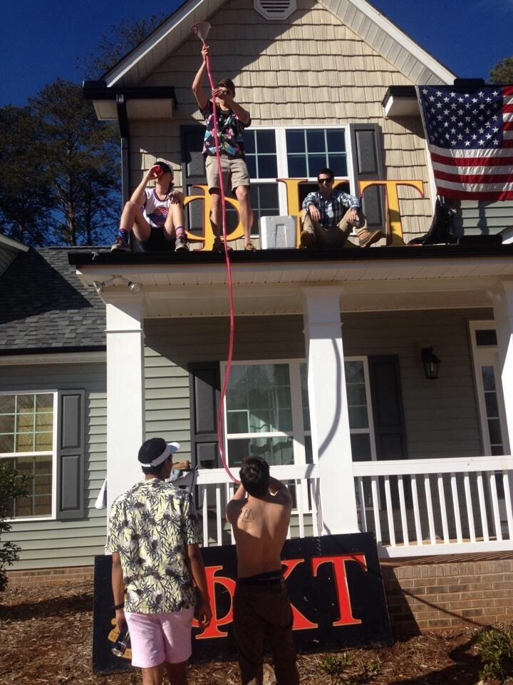The 2 story beer bong. TFM.