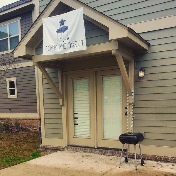 Telling your apartment come and take it when they say you can't have a grill. TFM.