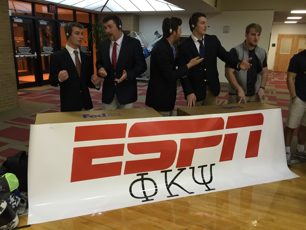 Using the pledges as sportscasters. TFM.