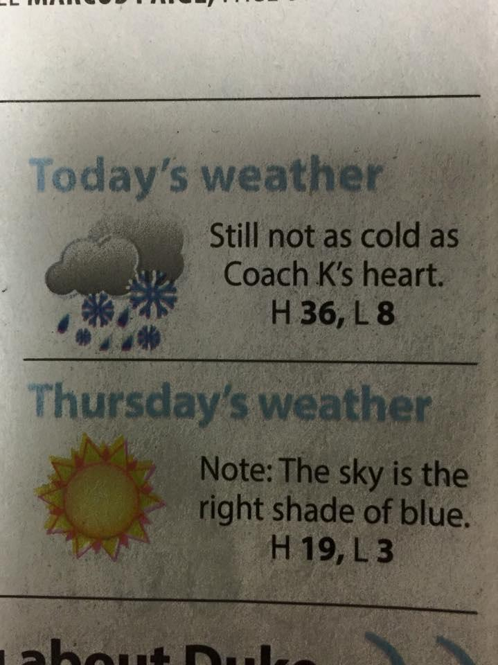The weather report from UNC's school newspaper today. TFM.