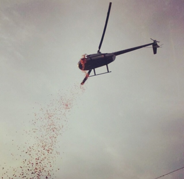 Using a helicopter full of 7,000 rose petals to ask her to formal. TFM.