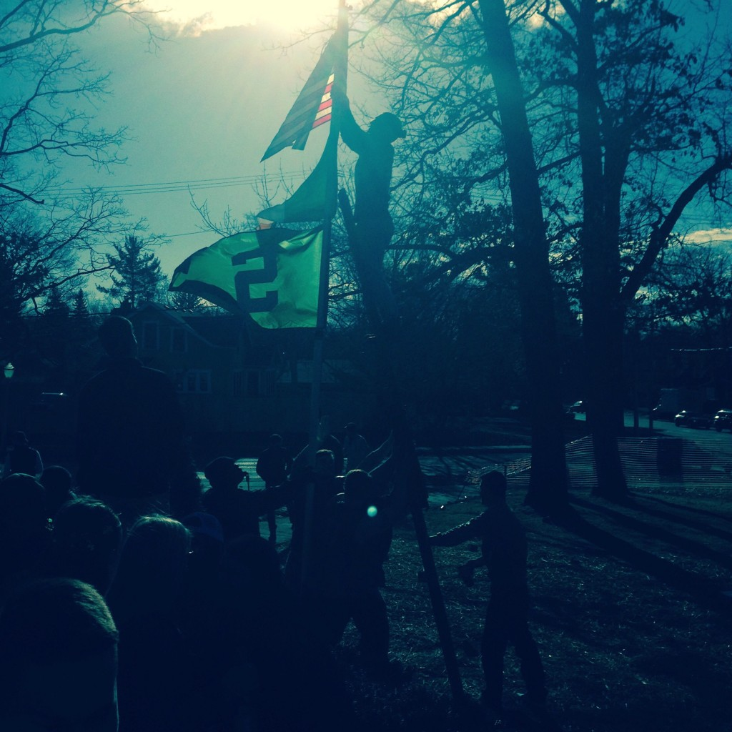 Making the American Flag a priority even on St. Patrick's Day. TFM.