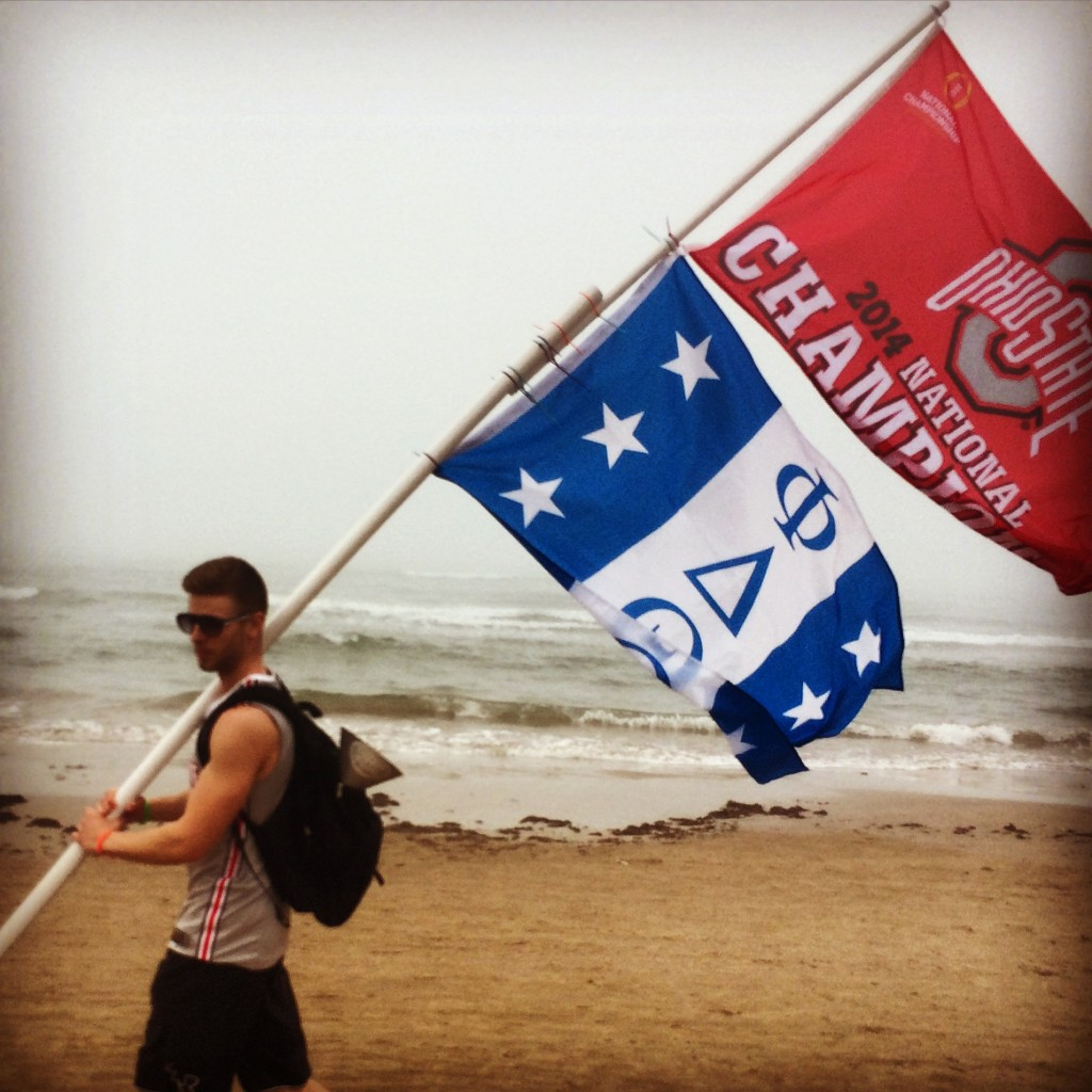 Making sure the whole beach knows who won the National Championship. TFM.