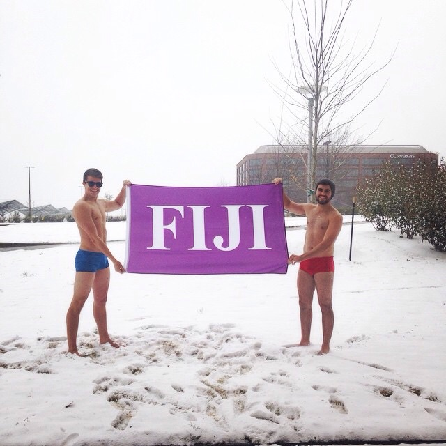 There's nothing more try-hard than wearing a speedo in the snow.