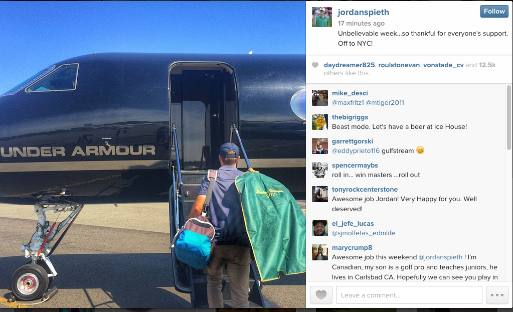Spieth leaving the Masters $1.8 million dollars richer in a private plane. TFM.