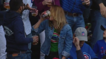 Cute Cubs Fan Catches Ball In Her Beer And Chugs It