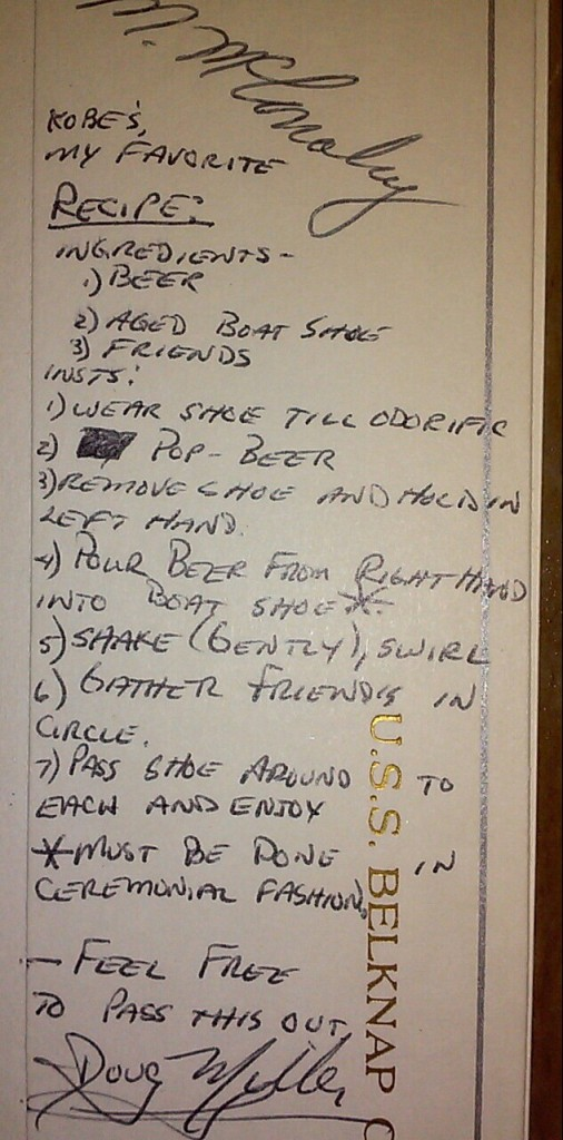 Dad's 1980's Navy recipe for the perfect beer. TFM.
