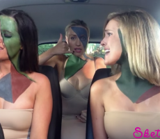 3 Babes In A Car Lip-Sync Famous Songs, End Up Stripping Topless