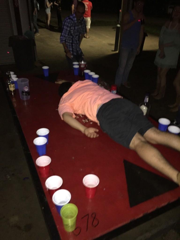Beer pong dunk fail.