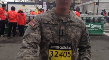 Pike from Northeastern University finishing all 26.2 miles of the Boston Marathon in his army fatigues and combat boots. TFM