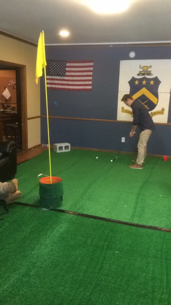 Practicing your short game during the country club party. TFM.