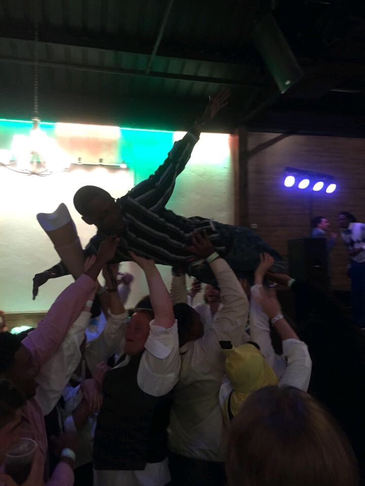 Stage dives during formal. TFM.