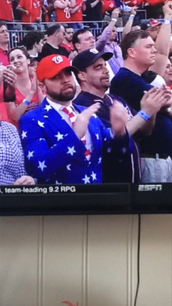This guy's Opening Day American flag suit. TFM.