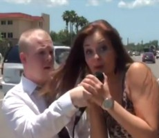 Hot Girl Interrupts Live News Report, Drops A %22Fuck Her Right In The Pussy%22 On Air