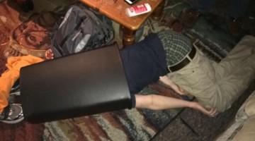Oscar the Grouch style sleeping.