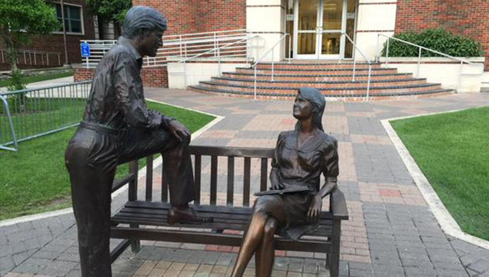 Sexist Statue Depicts A Man Talking To A Woman Sitting On A Bench