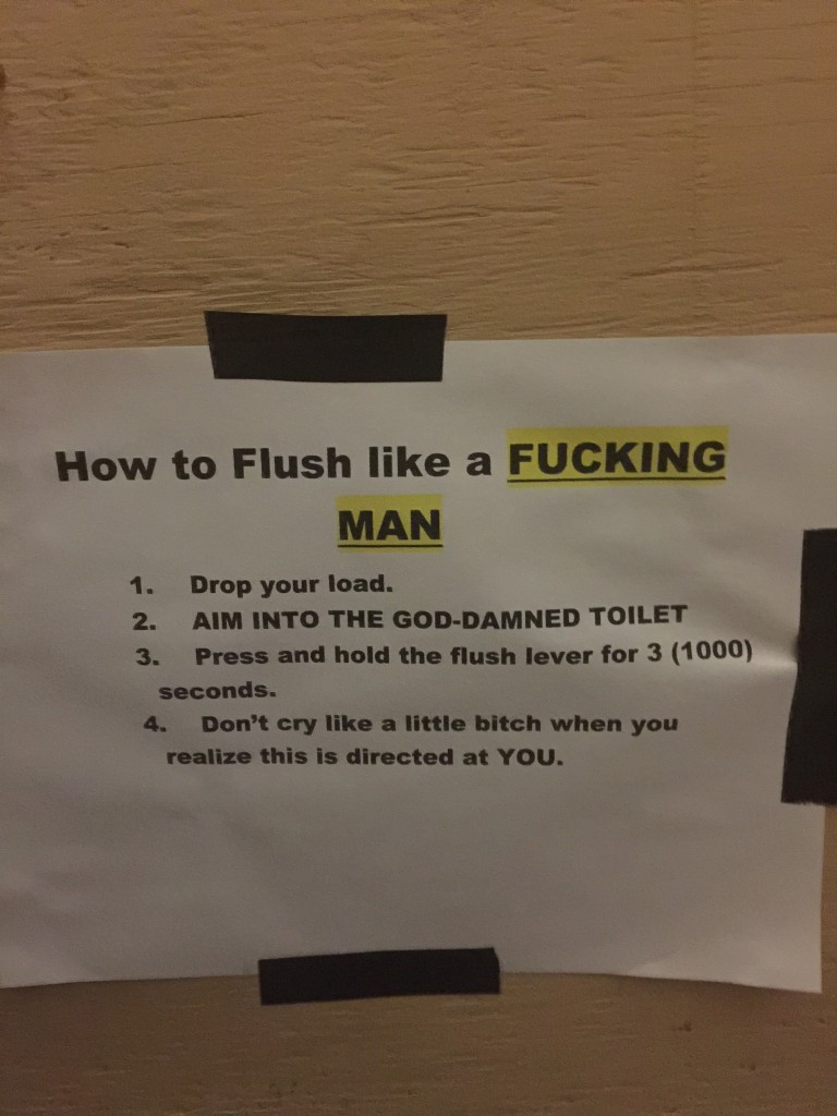 Signs from our house manager. TFM.