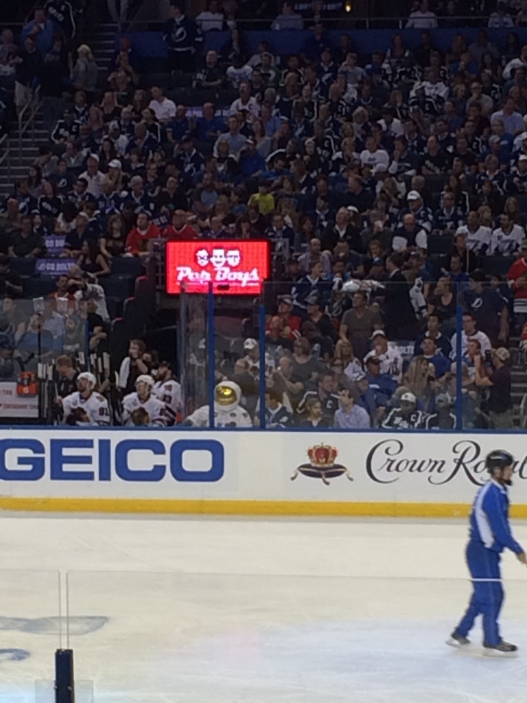 Sitting rink side at the Stanley Cup Final dressed as an Astronaut. TFM.