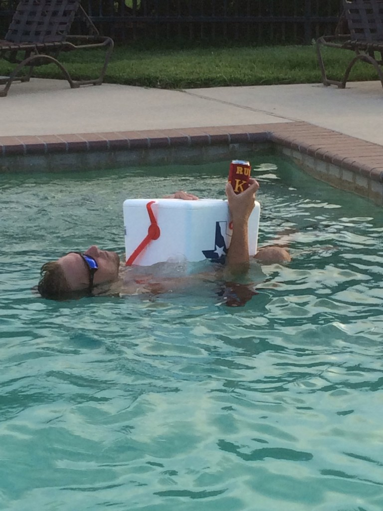 Using your cooler as a drunken floatation device. TFM.