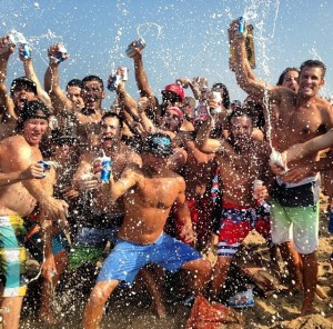 Beer Showers on the beach. TFM.