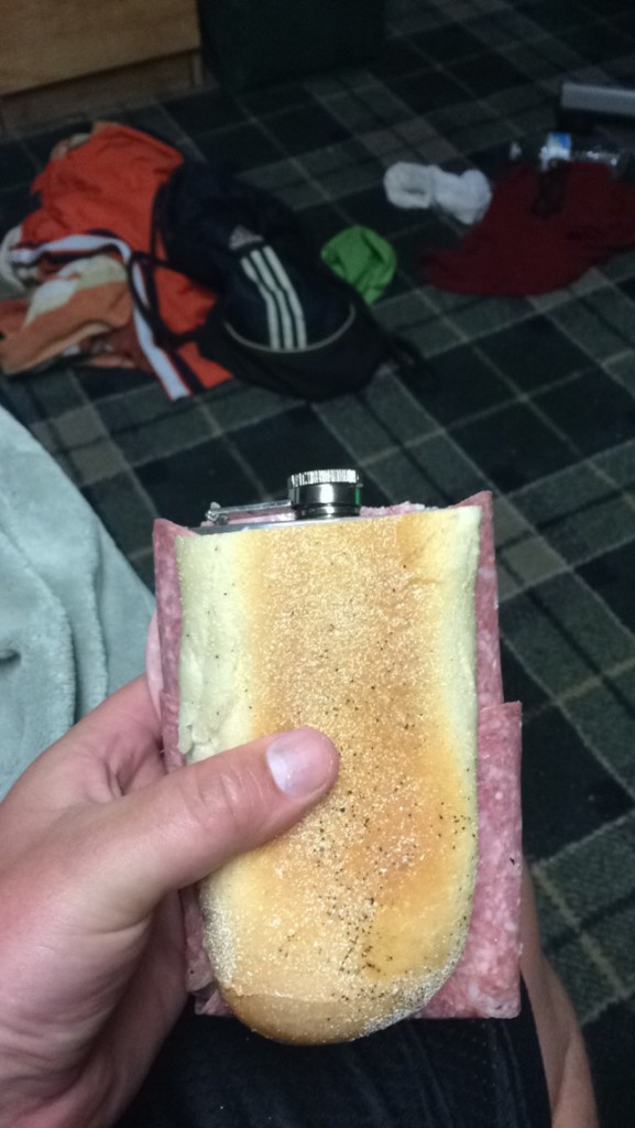 Smuggling alcohol in with a sandwich flask. TFM.