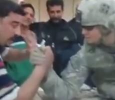 Iraqi Challenges US Soldier In Arm Wrestling, Gets Destroyed