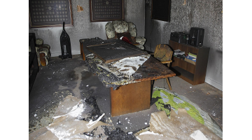 Fire damage in the third floor of the Pi Kappa Alpha house at the University of Utah, Friday, July 3, 2015. Fires damaged two fraternity houses early Friday morning. The Salt Lake City Fire Department is investigating the fires as arson.