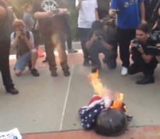 VIDEO- True Americans Dominate Flag-Burning Protestors In New York