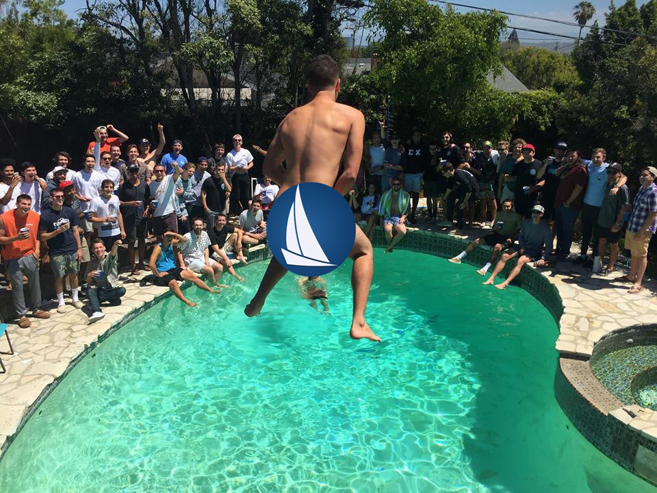A lot of dudes watching one naked dude jump into a pool. Cool.