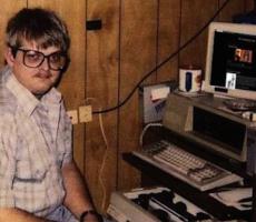 Nerd on computer