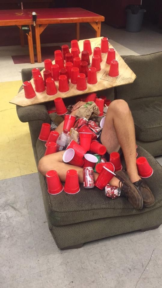 At least hell have a shitload of cups when he wakes up.