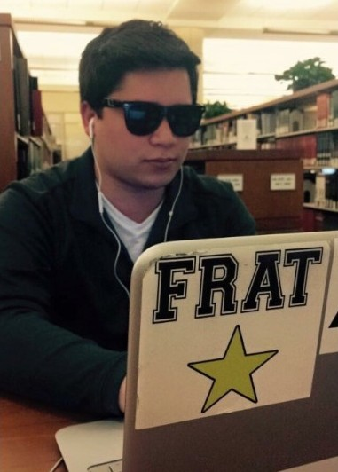 "Nothing says, ""FRAT"" like a giant ""FRAT"" sticker on your laptop."