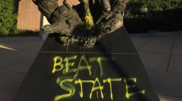 Idiot Michigan Fans Vandalize MSU's Magic Johnson Statue, Don't Understand Tradition