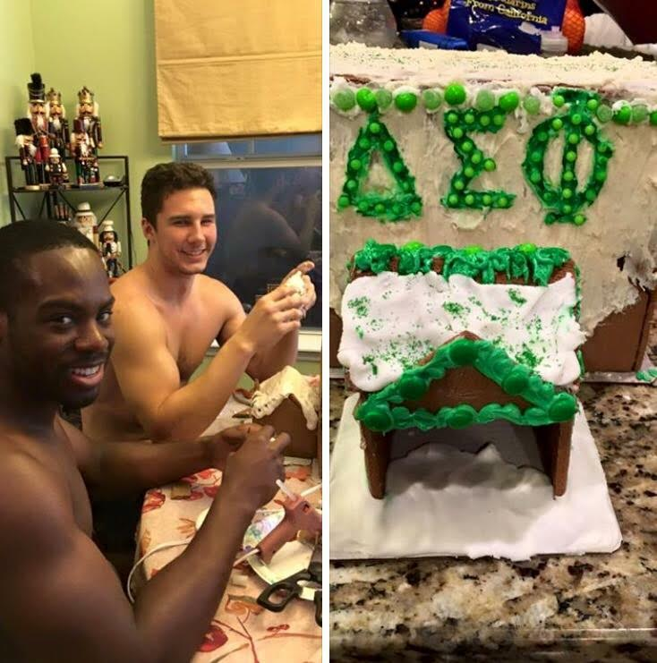 Building gingerbread houses shirtless. TFM.