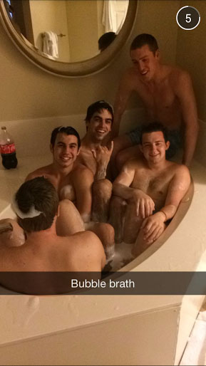 Rub a dub dub five fratters in a tub.
