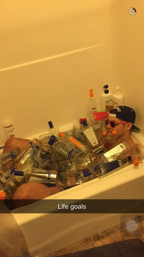 "Taking ""bathing in alcohol"" to a new level."