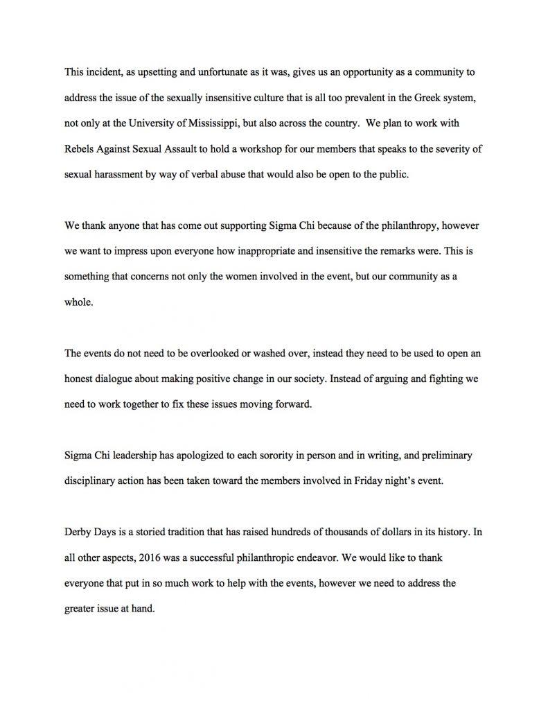 Sigma Chi Derby Days Off. Statement 2