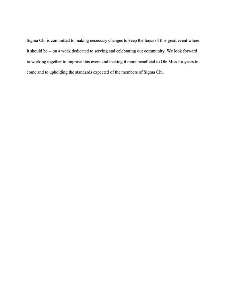 Sigma Chi Derby Days Off. Statement 3