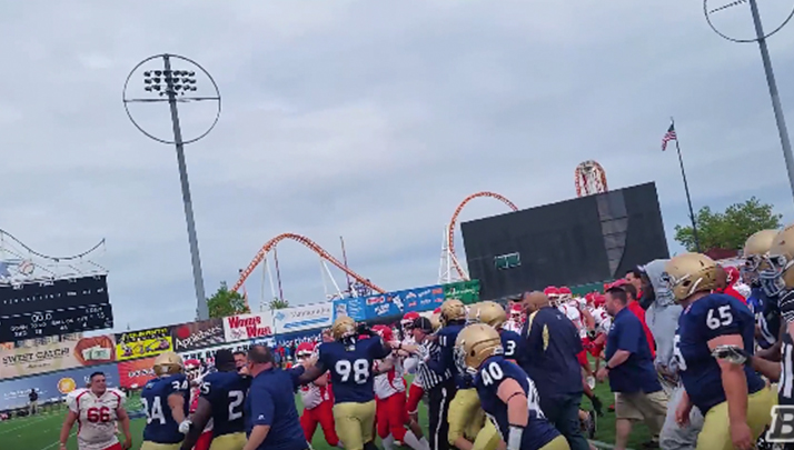 VIDEO- Massive Brawl Erupts At NYPD vs FDNY Charity Football Game