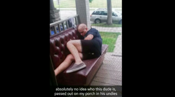 random guy passed out on porch