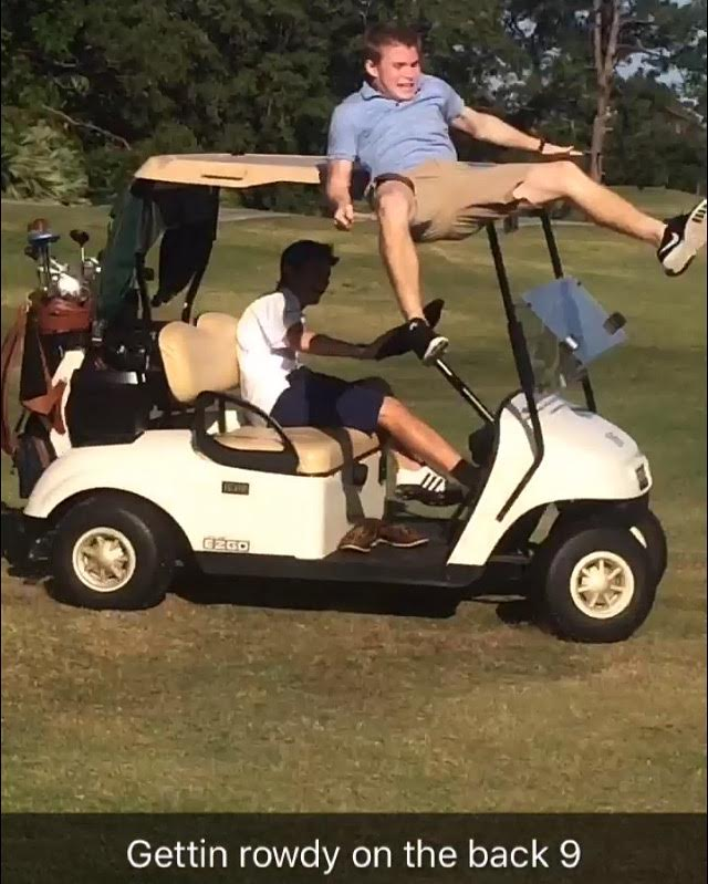 That's not how you ride a golf cart! Ha!