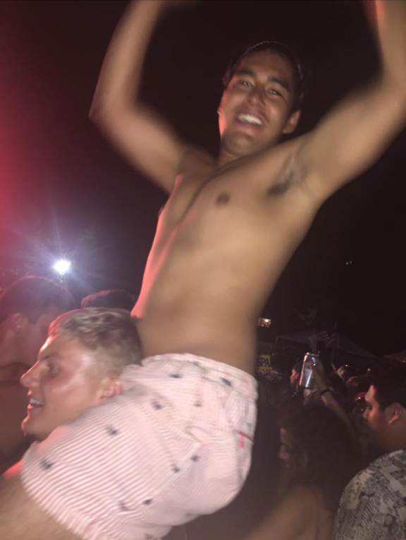 If youre going to wear those shorts and no shirt you cant get on your bros shoulders.