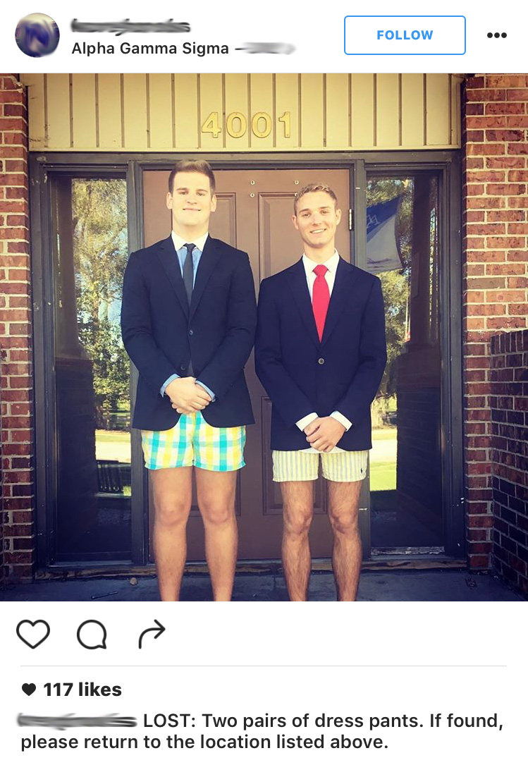HA! Losing your pants is frat!