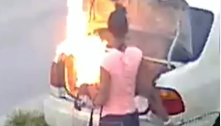 woman sets wrong car fire