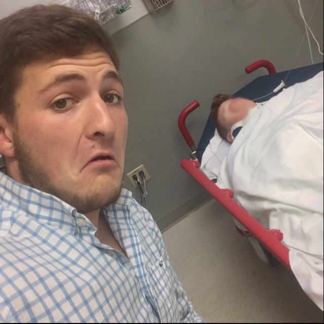 Come on man dont selfie your hospitalized friend.