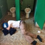At least he made it out of the stall.